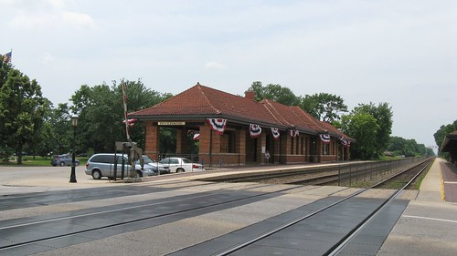 The Riverside Illinois Metra commuter rail station with decorative American 4th of July bunting. Riverside Illinois. Early July 2008. by Eddie from Chicago