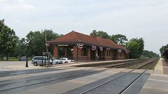 The Riverside Illinois Metra commuter rail station with decorative American 4th of July bunting. Riverside Illinois. Early July 2008.