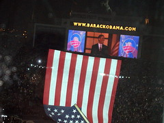 WAVING A FLAG AT THE OBAMA SPEECH