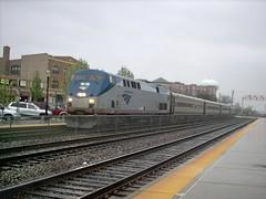 The westbound Amtrak Illinois Zephyr arriving in west suburban La Grange Illinois.