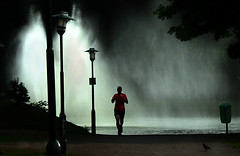 the long distance runner (M Hildingh) Tags: life park man water silhouette alone sweden marathon running run runner malm mattias jogger contestwinner hilding aplusphoto hildingh marcowelt platinumheartaward mattiashildingh