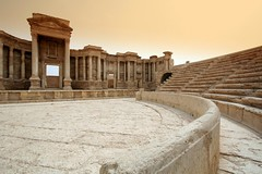 The Roman Theatre, Palmyra. ( Libyan Soup) Tags: city morning abandoned stone sunrise geotagged dawn early ruins theater alone roman empty stage columns nobody nopeople unescoworldheritagesite rows arabia syria arabian seating pillars destroyed deserted palmyra syrian  antiquity syrie romantheatre palmyre tadmor  tadmur syrianarabrepublic sriyah sriy  brideofthedesert palmyrene libyansoup scenaefrons geo:lat=34550486 geo:lon=38268750 lpseats
