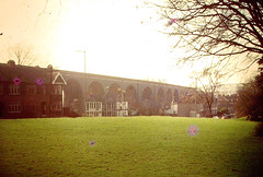 1960's Bristol - Thirteen arches viaduct before demolition, from Eastville Park (emmdee) Tags: bristol demolition 1970s slides eastville stapletonroad eastvillepark 13arches