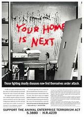 NABR Scare-mongering Ad (GreenIsTheNewRed.com) Tags: scaremongering nabr animalenterpriseterrorismact