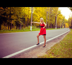 So unlikely (Geshpanets) Tags: road autumn love girl beauty outside 50mm girlfriend dress outdoor 5d elusive reddress blondy 5014 canonef50mmf14usm russiangirl fellowtraveller takeacar