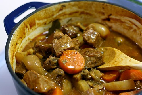 Beef stew out of the oven