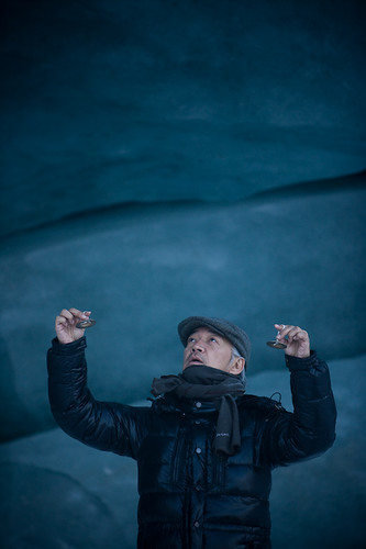 Ryuichi Sakamoto recording sound on a glacier in the Arctic