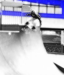 Descent (DMCleveland) Tags: ohio blackandwhite sports cleveland skateboard selectivecolour