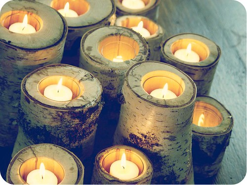 birch log candles
