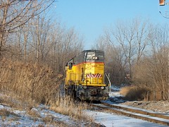 Union Pacific EMD model GP-15 light roadswitcher climbing up the Belt Railway of Chicago interchange curve. Chicago Illinois. January 2007.
