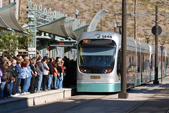 The Light RAil Approaching the Mill Avenue Station