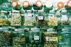 Mystery jars. Chinese Apothecary, Pudu Market (Mandy ML Chen) Tags: film market nikonfa pudu filmphotography pudumarket