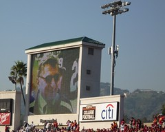 Tribute to Joe Paterno on the jumbotron, 2009 Rose Bowl by kslovesbooks