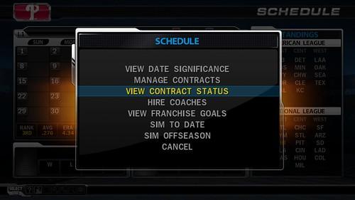 MLB 09 The Show screenshot - Schedule Actions
