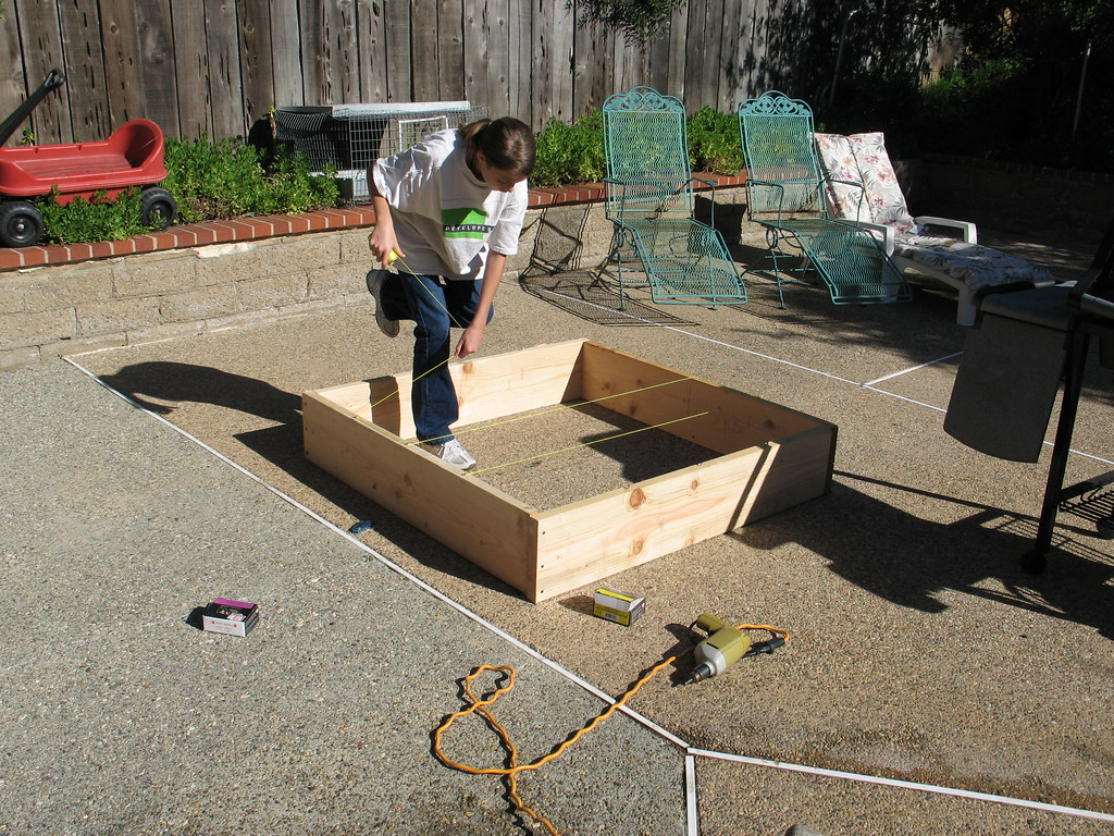 January in Carlsbad - making the Square Foot Garden  frame