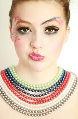 (Marina Lang) Tags: blue red portrait woman green girl face female mouth necklace colours order eyelashes expression ma