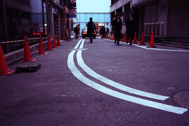 裏道のカーブ