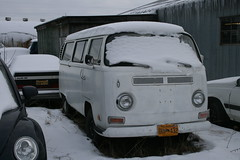 White Bay Window VW Bus with snow on the roof in Wasilla, Alaska - Passenger Side Front View