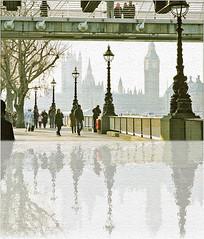 (the photo workshop) Tags: winter england reflection london texture misty weird december joke housesofparliament southbank canvas 2008 hungerfordbridge goldenjubileebridge lampposts silverjubileebridge 122008 20083137