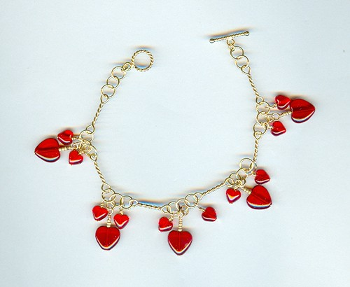 Cupid's Kiss Red Hot Hearts Charm Bracelet