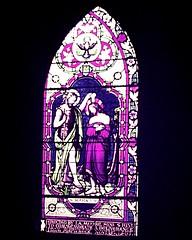 St Matthew's Church window (Leonard John Matthews) Tags: church window blessings message quote contemporary faith jesus belief baptism stained tasmania bible christianity scripture stmatthews verse johnthebaptist newnorfolk mark19 mythoto