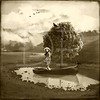 ~The Crows Nest (sepia)~ (Denise Purrington {{say hello to my Little Bears:)) Tags: mountains tree water girl vintage boat pond nest antique dream hills crow —obramaestra—