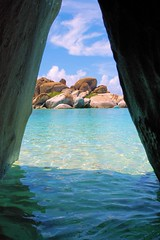 Tent Rock (Edit) (cwgoodroe) Tags: ocean blue sea summer sky sun hot color beach nature water fountain oakland bay rocks wine sandiego vine carribean honduras virgin boulders baths saturation area gorda bvi sfchronicle96hrs virgingordabaths