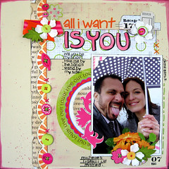 """All I Want is You"" - Pink Paislee/Scrapmojo (Michelle Alynn) Tags: pink flowers wedding green ink scrapbook stamps overlay 12x12 pinkpaislee scrapmojochallenges"