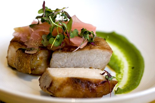 Grilled Pork Loin, Spring Onion Gastrique, Herbal Ginger Puree