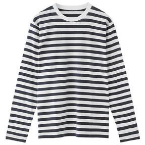 ピマ綿ボーダークルーネックシャツ