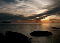 Silver & Gold (corten) Tags: ocean sunset water clouds landscape thailand rocks silhouettes ripples kohphangan challengeyouwinner cyniner