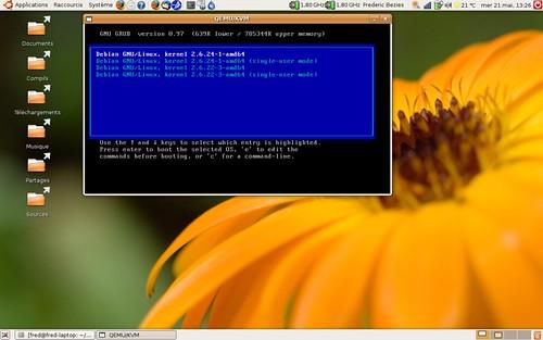Le démarrage de Debian Lenny avec les deux noyaux 2.6.22 et 2.6.24