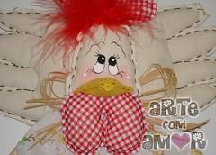 Detalhe (♥ ♥ ♥  Arte com Amor  ♥ ♥ ♥) Tags: galinha lembrança pano porta lar prato cozinha presente galo tecido enfeite