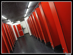 Arsenal Ground Beautiful Toilets (solamore) Tags: red sky woman colour london lines lady football nice stadium mulher shapes sunny ground toilet vermelho formas arsenal banheiro artisticexpression porat mywinners emiratestadium colourartaward canong9 lightduringtheday