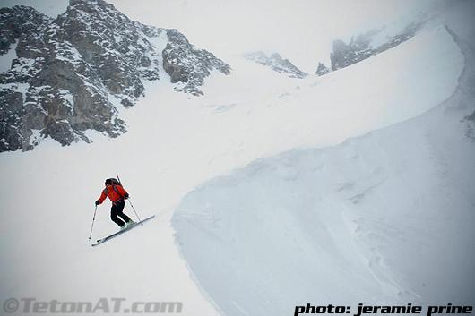 Steve Romeo skis on Dinwoody Glacier