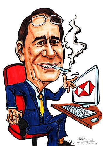 Caricature HSBC smoker looking at monitor
