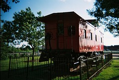 Retired caboose from the Chicago, Rock Island & Pacific Railroad. Tinley Park Illinois. June 2008.