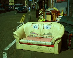 Sofa (monkeyiron) Tags: face leather glasgow couch sofa rubbish govanhill