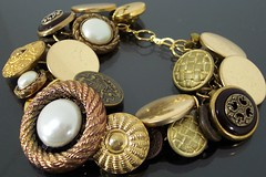 Shannon's Room The Regal Gold Vintage Button Bracelet (estanciadesigns) Tags: ladies woman girl lady vintage gold handmade buttons room jewelry charm womens bracelet accessories tween etsy kitschy teenage shannons goldtone tweener