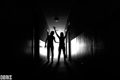 DARK TWIN (denis magro) Tags: new light shadow people blackandwhite bw italy woman girl face contrast hair fun hotel mujer hands hand arms legs body femme corridor double ombre homage shining schatten silhoutte couloir korridor corredor doble zwilling denismagro neroamet