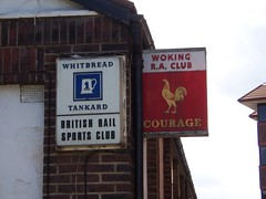 Woking Railway Athletic Club (sarflondondunc) Tags: woking whitbread surrey courage oldsigns goldsworthroad wokingrailwayathleticclub britishrailsportsclub