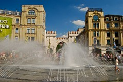 Karlstor (that's the arch) and Fountain, Munich