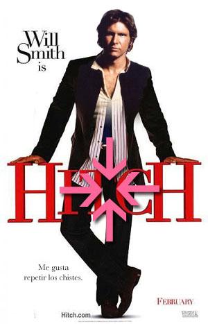 Portada de Hitch con un montaje entre Han Solo y Will Smith en que se remarca la entrepierna de éste último con unas flechas rosas