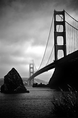 Golden Gate (alibaba0) Tags: ocean sf sanfrancisco bridge sea blackandwhite bw cloud tourism water rock pacific noiretblanc nb goldengate bayarea nuage rocher tourisme originaliphoto bestofr