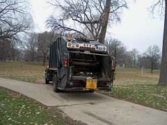 Chicago Park District crews on a trash collection run. Lincoln Park. Chicago Illinois. November 2006.