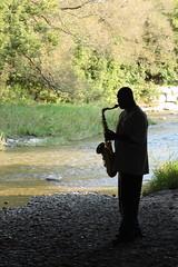 Jammin' Sax Man (SeRVe Photography) Tags: bridge music man water rocks durham trail gta sax region saxophone jammin flickrchallengegroup osjawa
