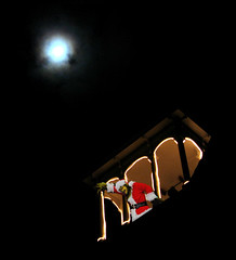 Grinch surveys downtown Bainbridge Island from Eagle Harbor Congregational Church (*Riff*) Tags: seattle moon holiday night lights evening worship christmaslights grinch fantasy bainbridgeisland washingtonstate jimcarrey 1896 historiclandmark congregationalchurch nearfullmoon hutikihi
