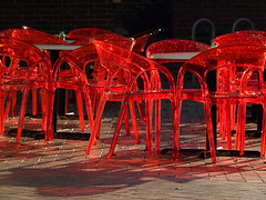 Red Chairs (Bill Oriani) Tags: red austin bill texas chairs plastic 2008 oriani 50200mmf2835 olympuse510 billoriani