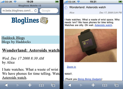Bloglines Beta mobile vs Google Reader mobile (2)