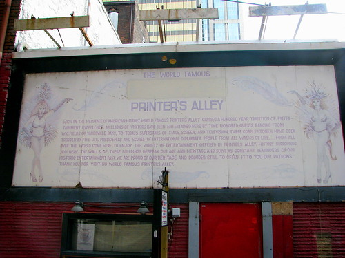 World Famous Printer's Alley sign